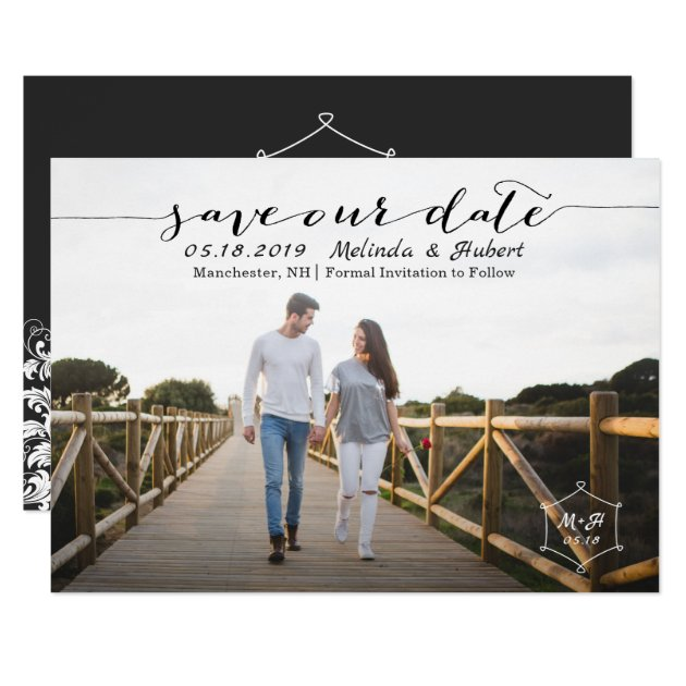 Modern Black & White Monogram Save The Date Photo Card