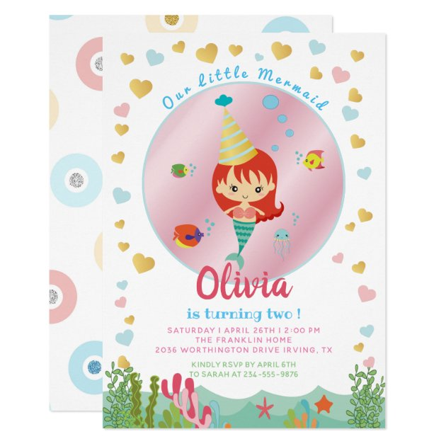 Cute Mermaid Under the Sea Birthday Pool Party Card (front side)