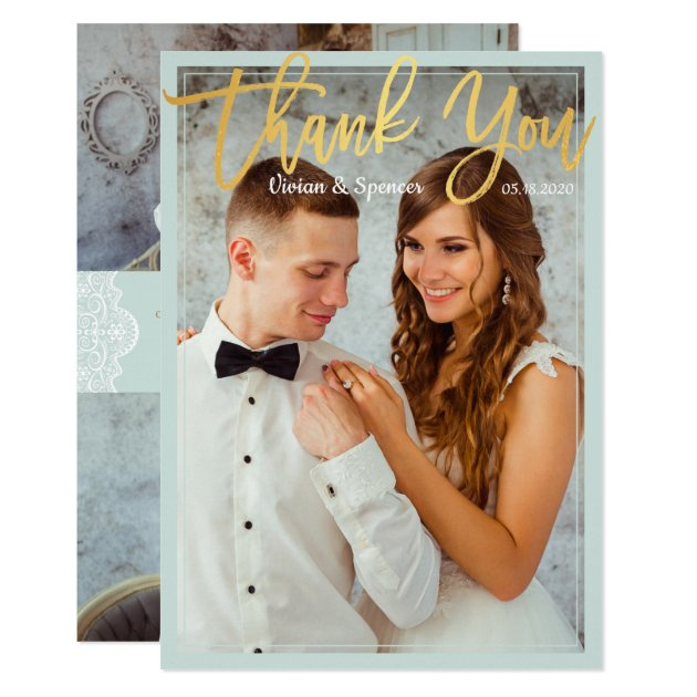 Chic Bright Mint Faux Gold Script Photo Thank You Card