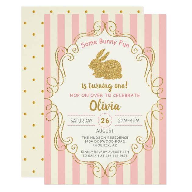 Pink Gold Glitter Some Bunny Birthday Invitation (front side)