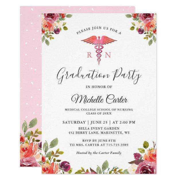 Watercolor Floral Nursing School Graduation Party Card