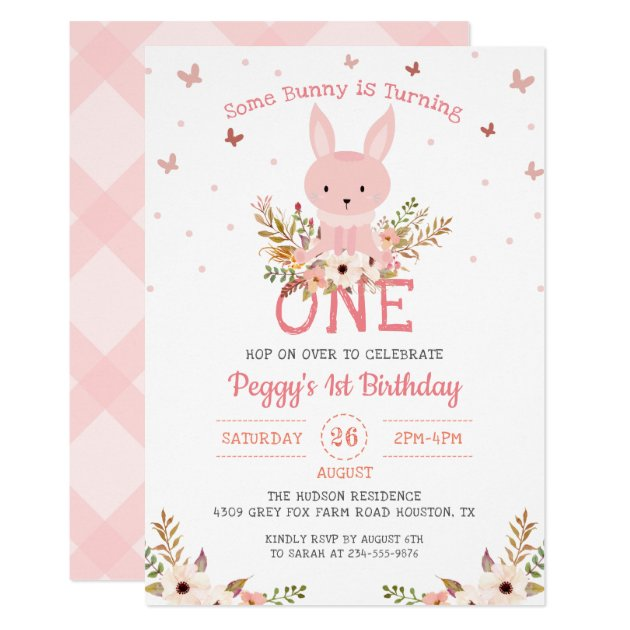 Pink Some Bunny Girl 1st Birthday Invitation (front side)