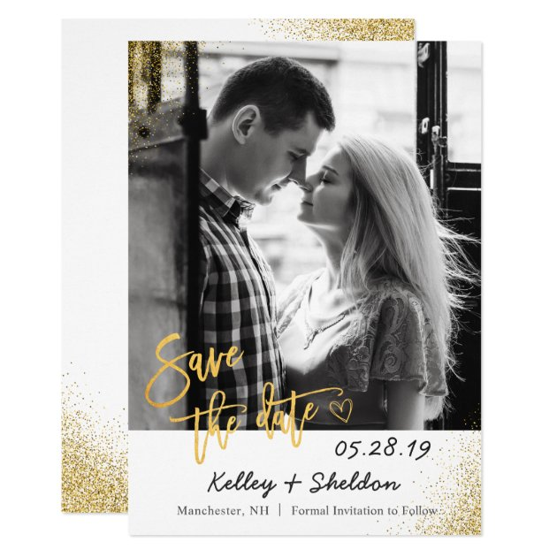 Modern White & Gold Wedding Save The Date Photo Card