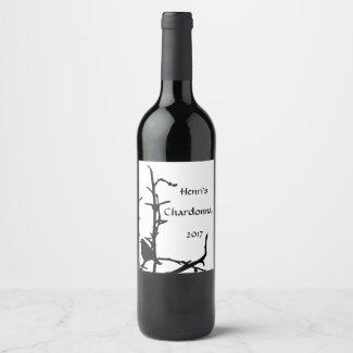 Black Bird on Tree Branch White Wine Label