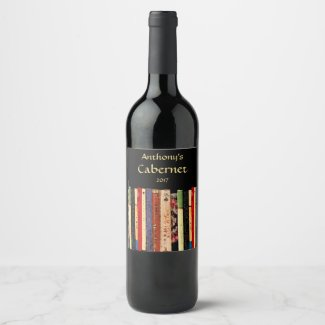 Colorful Library Books Abstract Wine Label