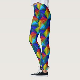 Blue Red Green Yellow Rainbow Pattern Leggings