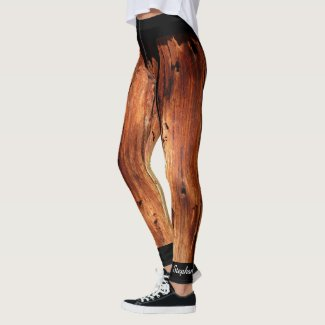 Faux Weathered Wood Leggings with Name on Ankle