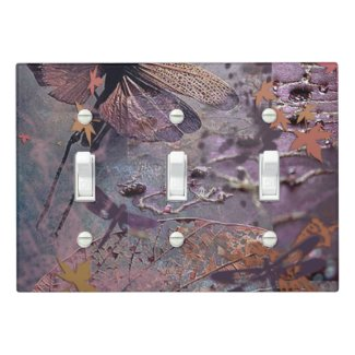 Purple Autumn Dragonfly Triple Switch Light Switch Cover
