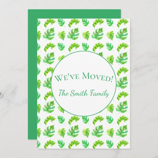 Watercolor Tropical Monstera Leaves New Address Announcement