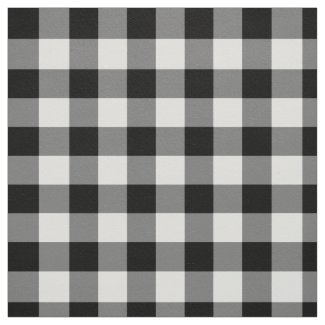 Bold Black and White Gingham Plaid Fabric