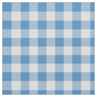 Light Blue and White Gingham Plaid Fabric