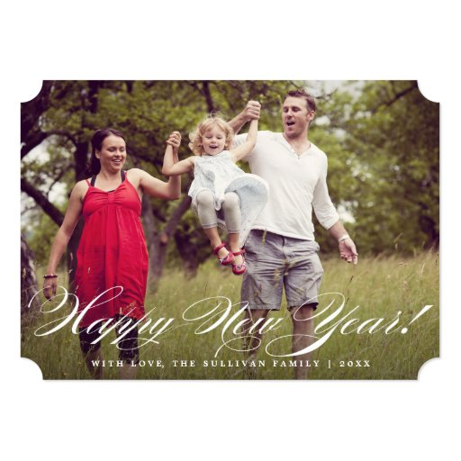 "Elegant Script | Happy New Year Photo Flat Card 5"" X 7"" Invitation Card"