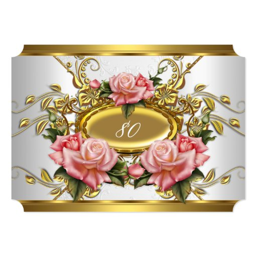 Elegant 80th Birthday Party Pink Gold Roses White 5x7 Paper Invitation Card (front side)