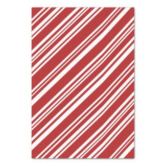 Red and White Modern Peppermint Stripe Tissue Paper