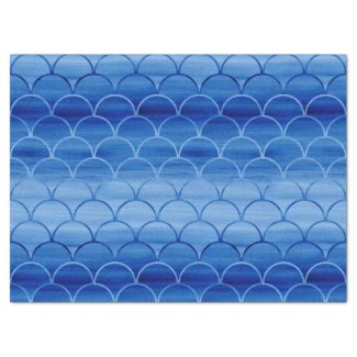 Dreamy Blue Painted Fan Shapes Pattern Tissue Paper
