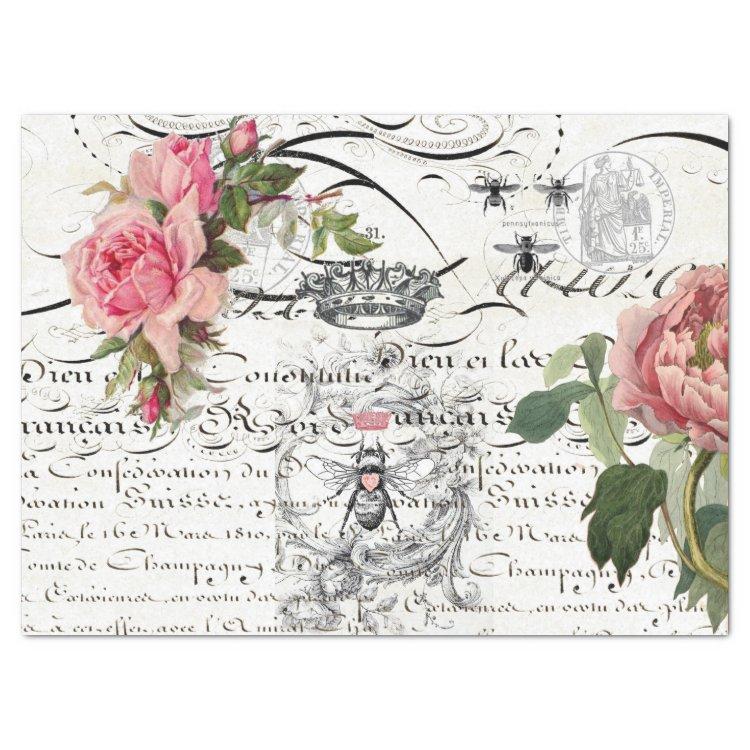 Queen Bee Script Decoupage Tissue Tissue Paper