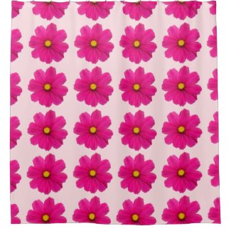 cute girly pink flower pattern shower curtain