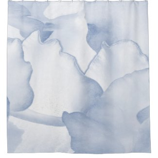 Painted Blue Petals Shower Curtain