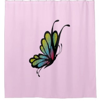 Colorful Rainbow Butterfly Pink Shower Curtain