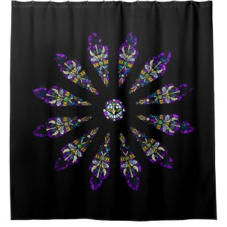 Stained Glass Abstract Mandala Shower Curtain