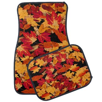 Autumn Leaves in Red Orange Yellow Brown Car Mat