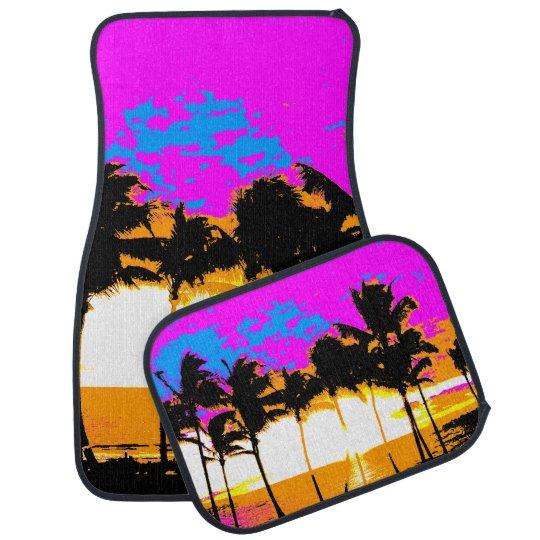 PALM TREES SUNSET CAR FLOOR MATS
