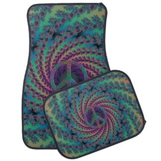 Colorful Fractal Peace Sign Car Floor Mats