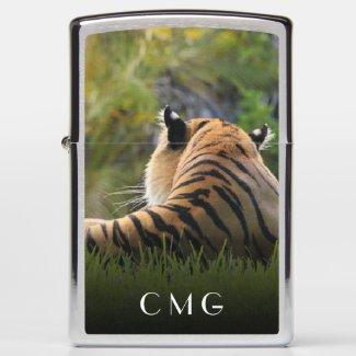 Custom Initials Monogram • Malayan Tiger Zippo Lighter