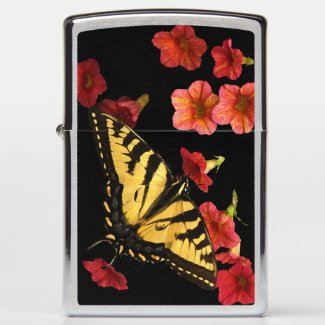 Yellow Butterfly and Red Flowers Zippo Lighter