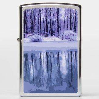 Blue and Purple Winter Pond Zippo Lighter