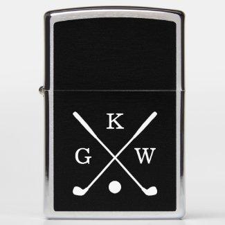 Black and White Golf Clubs Monogram Zippo Lighter
