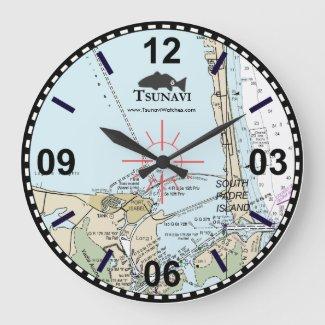 Nautical Chart Wall Clock - South Padre Island