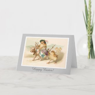Chicken Riding Lamb - Cute Vintage Easter Gift Card