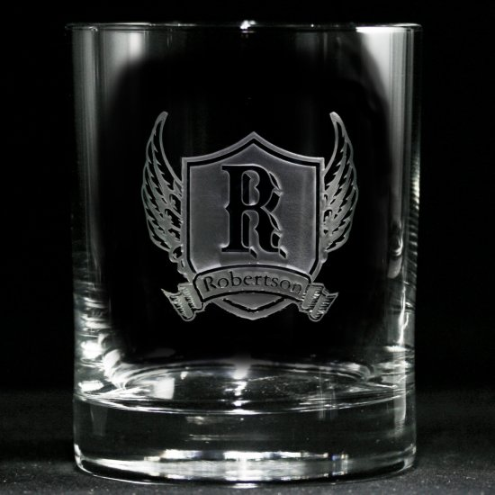 Winged Shield Personalized Whiskey Glass