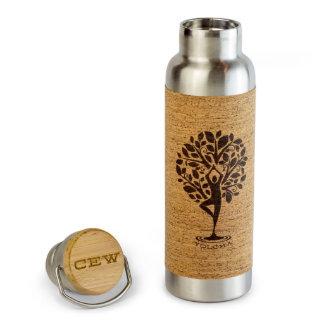 20 oz Stainless Steel Water Bottle w/Cork & Bamboo