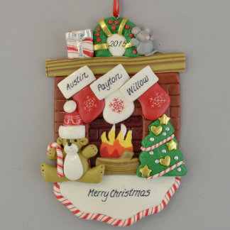 Fireplace Mantle with 3 Stockings Ornament