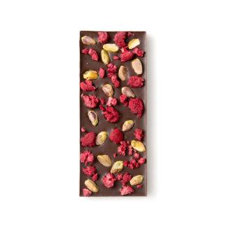 Frambuesa secada y pistacho asado barras de chocolate negro
