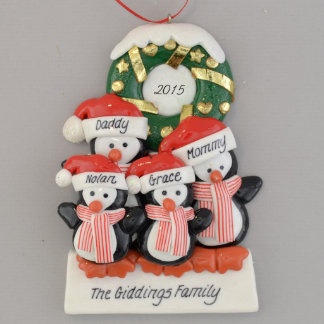 Personalized Penguins (4) Clay Dough Ornament