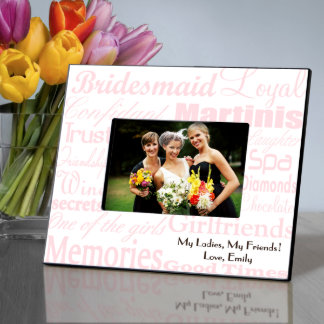 Pink on White Personalized Bridesmaid Frame Picture Frame