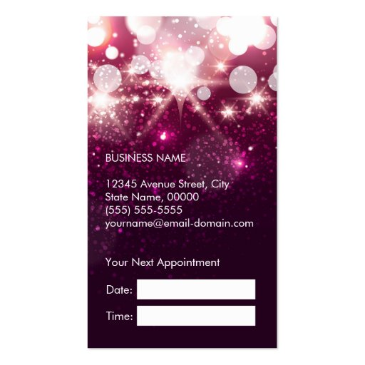 Hair Stylist Appointment Card Pink Glitter Sparkle Double-Sided Standard Business Cards (Pack Of 100) (back side)