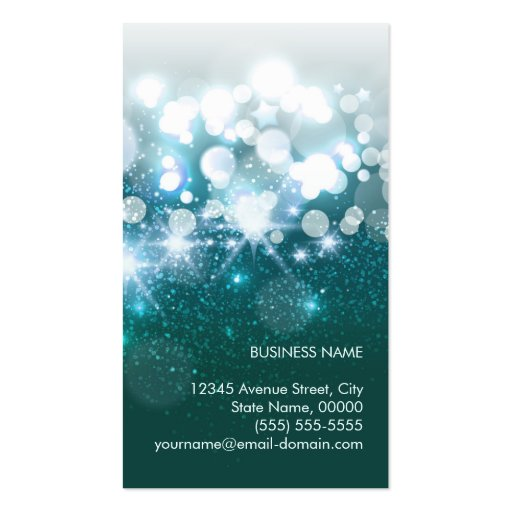 HairStylist Teal Turquoise Glamour Glitter Sparkle Pack Of Standard Business Cards (back side)