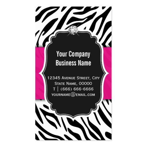 Makeup Artist - Classy Black Pink Zebra Print Business Card Templates (back side)