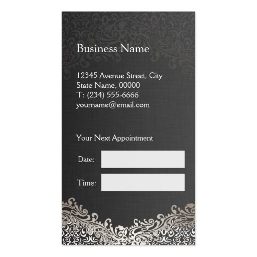 Elegant Silver Damask - Hair Stylist Appointment Business Card Template (back side)