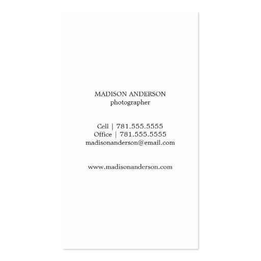 Minimal Bold 2 | Photography Business Cards (back side)