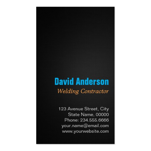 Modern Welding Service and Metal Fabrication Photo Business Card (back side)