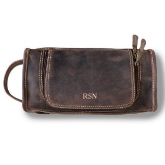 Rose Gold Leather Distressed Brown Travel Dopp Kit