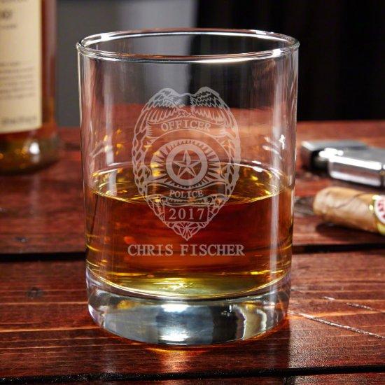 Engraved Police Badge Eastham Whiskey Glass