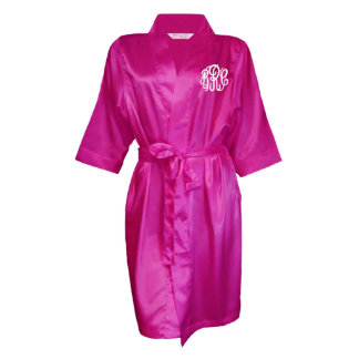 Fuchsia, Monogram Bridal Party Robe