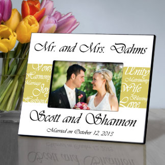 Mustard Mr. and Mrs. Wedding Picture Frame