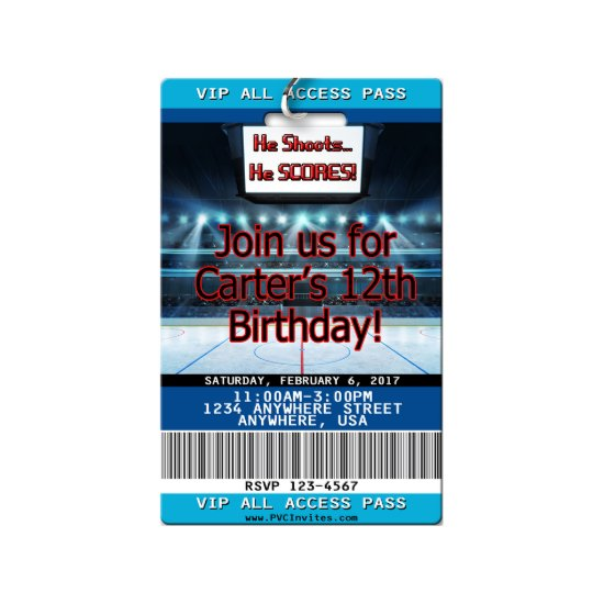 Hockey Birthday Invitations - VIP Pass on Plastic